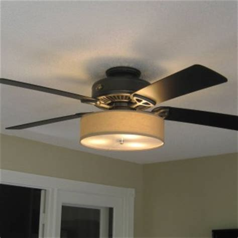 low profile linen drum shade light kit for ceiling fan s