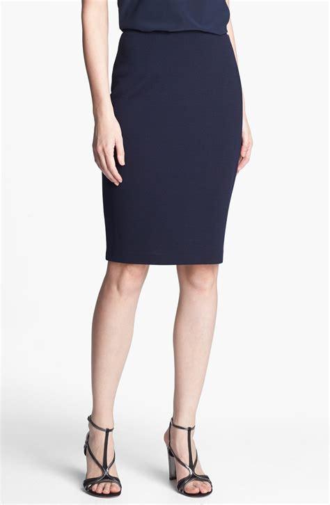 st john milano knit pencil skirt  blue navy lyst