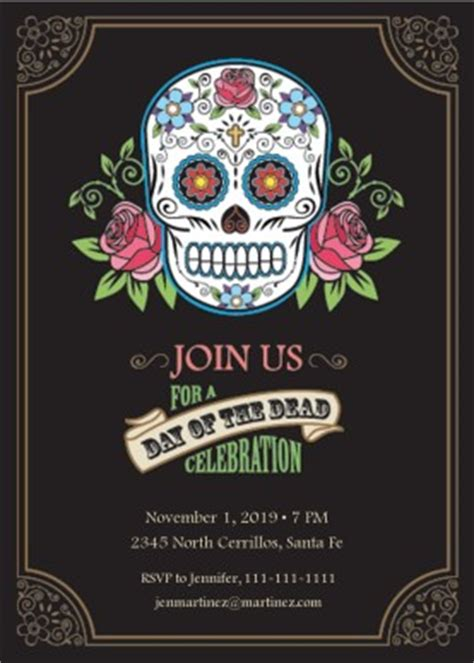 printable day   dead party invitation template