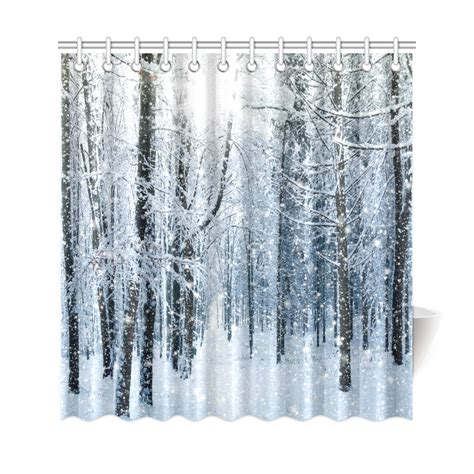 interestprint snowy trees forest mountain home decor