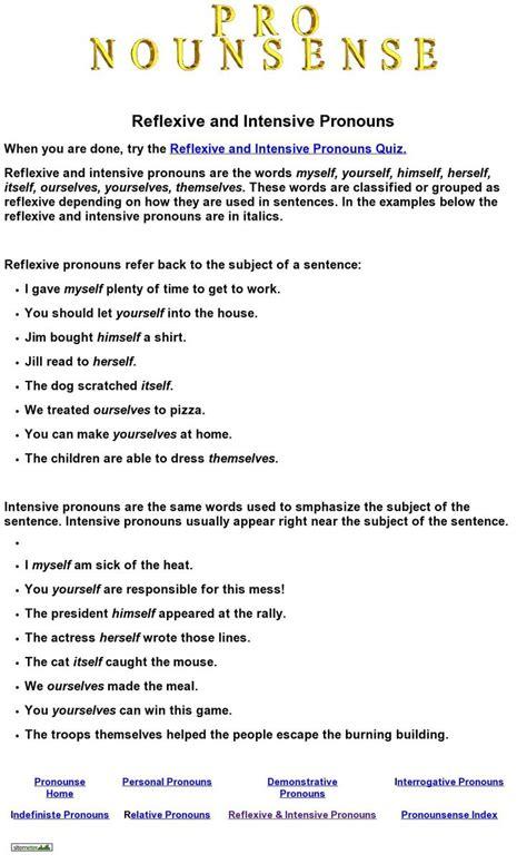 reflexive  intensive pronouns quiz  nounsense