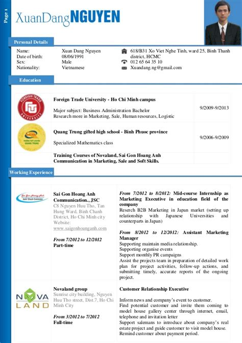 marketing assistant resume dang nguyen cv for marketing