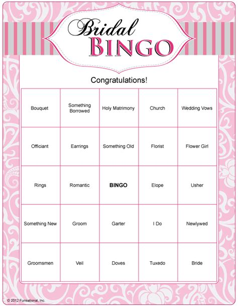 bridal bingo can do with quot wedding words quot and just play as