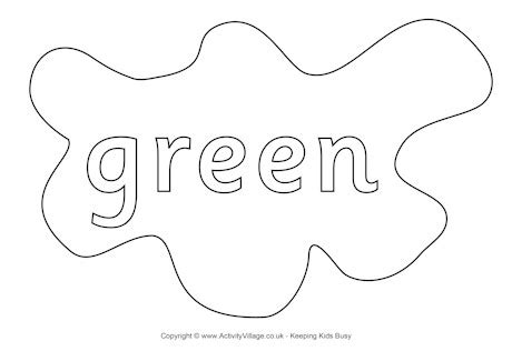 green colouring page splats