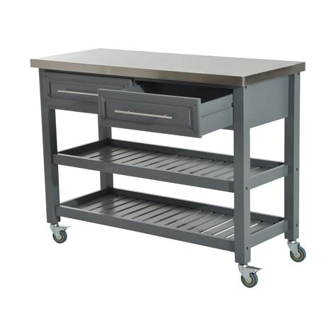kitchen island rolling cart homcom 47 3 tier grey rolling kitchen cart with stainless