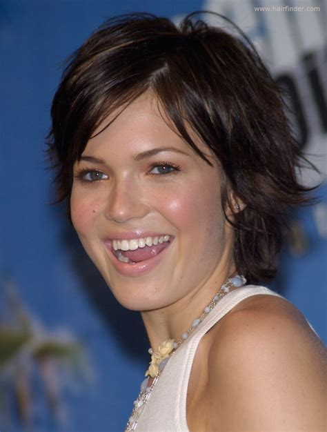 Mandy Moore's hair in a carefree grown out pixie with bangs
