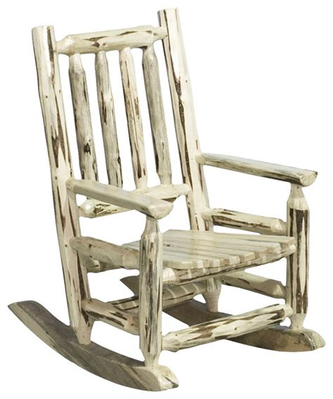 montana woodworks child s log rocking chair in clear