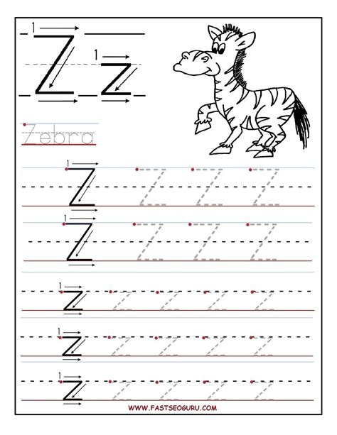 the letter z handwriting worksheets for pre k worksheets