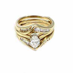 Wedding ring sets sageu0027s goldtone cz flower wedding for Diamond wedding ring for him