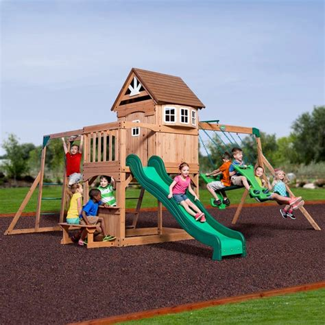 backyard discovery cedar view swing set shop backyard discovery montpelier all cedar swing set