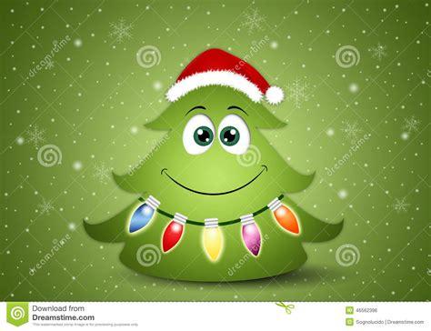 lustiger weihnachtsbaum mit dekorationen stock abbildung