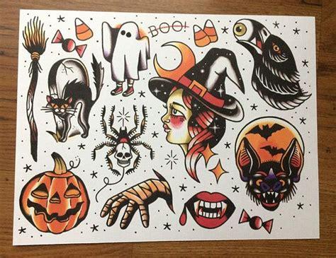 Halloween Themed Tattoo Flash Print  Ink  Pinterest  Tattoos, Tattoo Designs And Spooky Tattoos