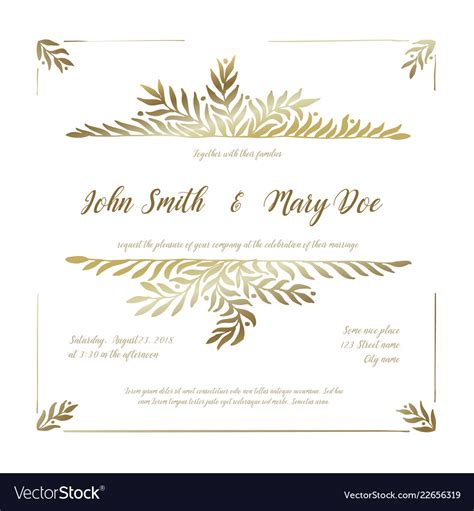 Golden wedding invitation card template Royalty Free Vector