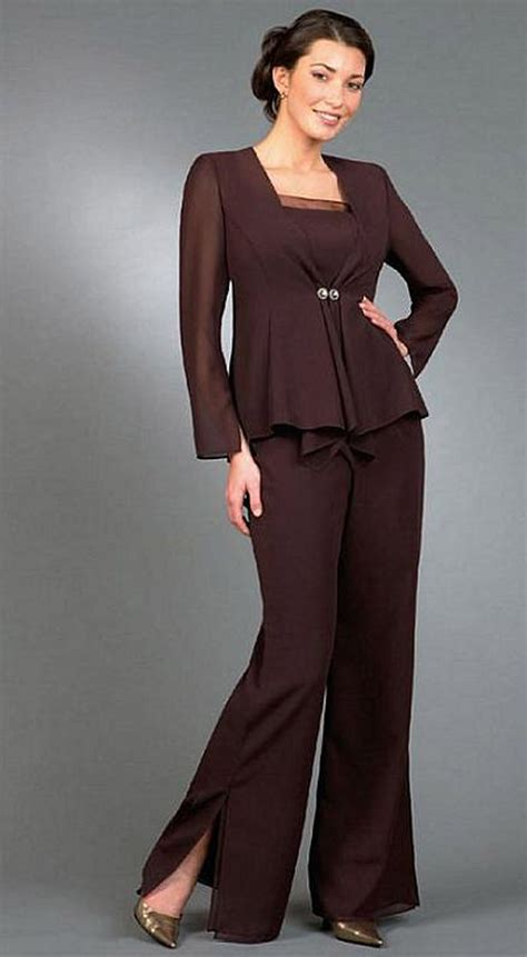 Free Shipping Long Sleeves With Jacket Empire Mother of the Bride Pant Suits Wedding Mother ...
