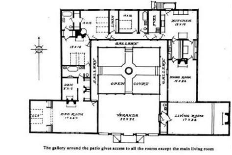 bungalow courtyard home plan hacienda