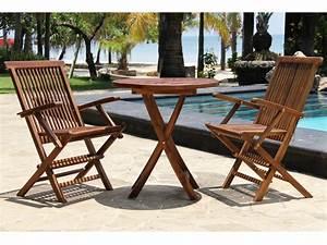 Salon Jardin 2 Places : salon de jardin 2 places en teck huil table ronde 2 ~ Melissatoandfro.com Idées de Décoration
