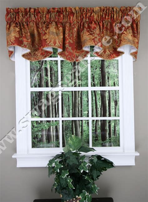 tuscan kitchen curtains valances como lined scalloped valance cinnabar stylemaster kitchen valances