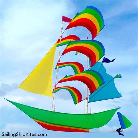 sailing ship kite green rainbow shop
