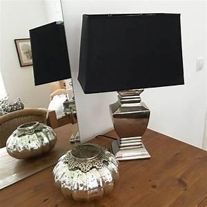 Tischlampe Vintage Shabby : tischlampe schwarz silber 54 cm tischleuchte shabby ~ Watch28wear.com Haus und Dekorationen