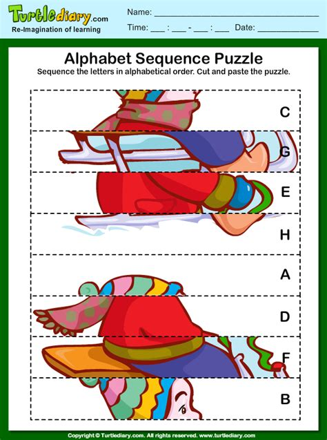 alphabet sequencing puzzle worksheet turtle diary