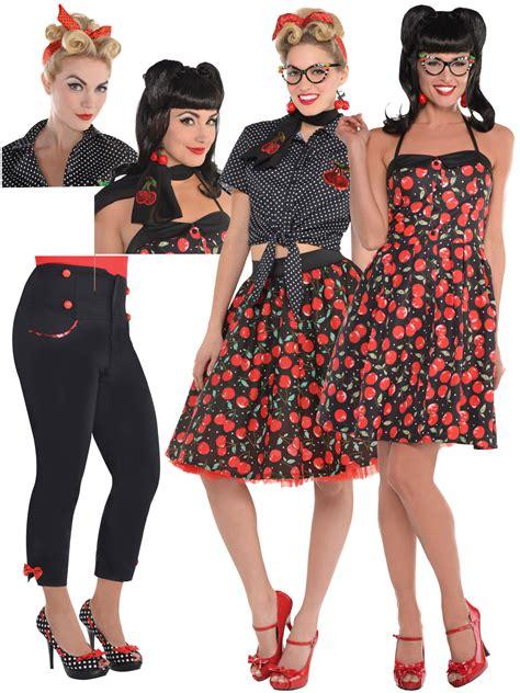 Ladies Rockabilly Costume Accessories Womens 50s Rock n Roll Fancy Dress Outfit   eBay