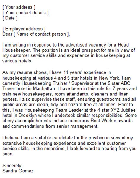 Housekeeping Supervisor Resume Cover Letter by Housekeeper Cover Letter Sle