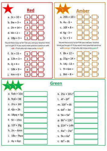 factorizing linear expressions worksheet  floppityboppit