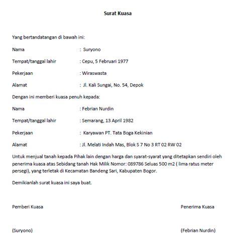 contoh membuat surat kuasa jaminan sertifikat lengkap