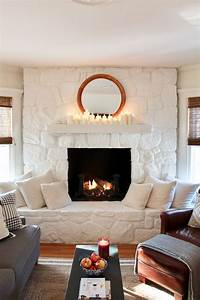 Ideas, For, Living, Room, White, Stone, Fireplace, Images