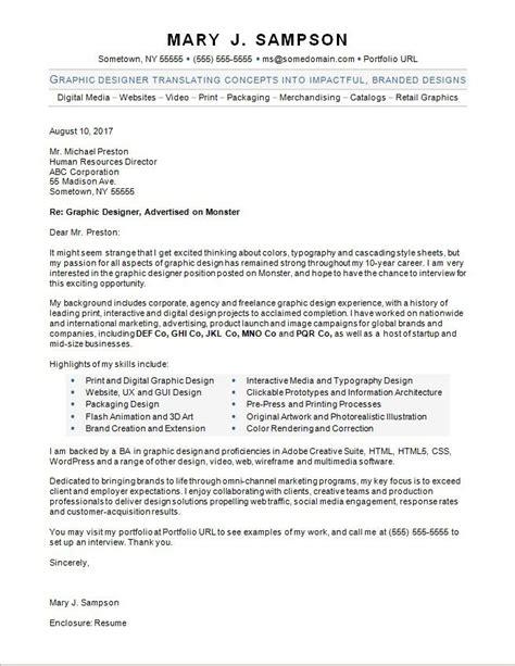 graphic designer cover letter sample monstercom