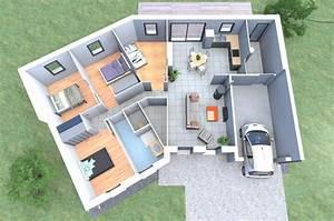 un plan 3d de maison 4 chambres originale avec une forme With construction de maison en 3d
