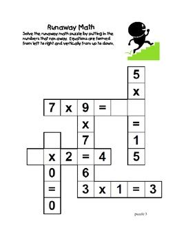 runaway math puzzles multiplication math practice grades