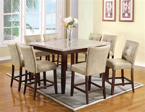 britney counter dining room set  cream chairs acme