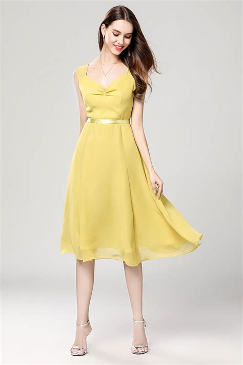 Discount Yellow Chiffon Summer Cocktail Party Dress
