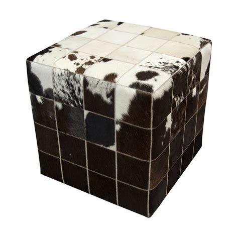 Cowhide Cube Ottoman - cowhide cube pouf ottoman white black brown fur home