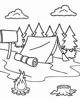 Coloring Tent Forest Camp Pages Printable Summer Print Sheet sketch template