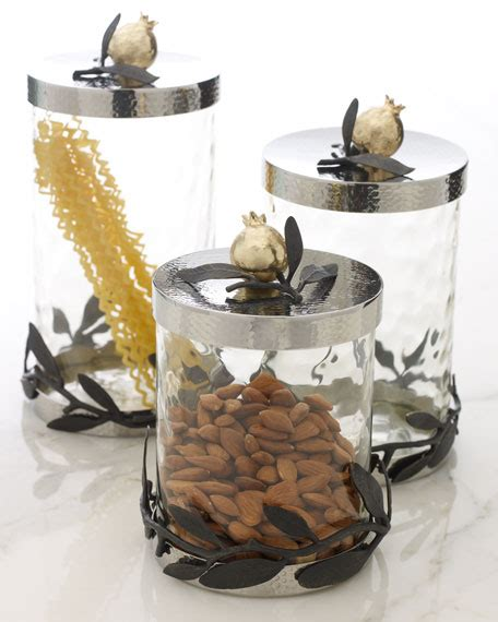 olive kitchen accessories michael aram quot olive branch pomegranate quot canisters 1177