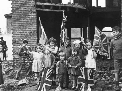 children waving flags  ve day     science