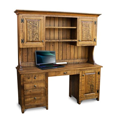 all wood desk with hutch rustic shaker desk w top