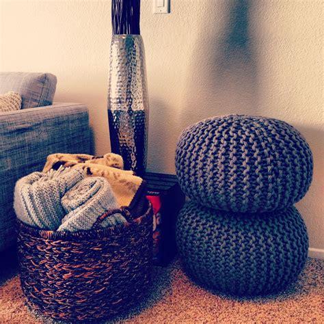 Living Room Necessities Basket Of Blankets Poufs