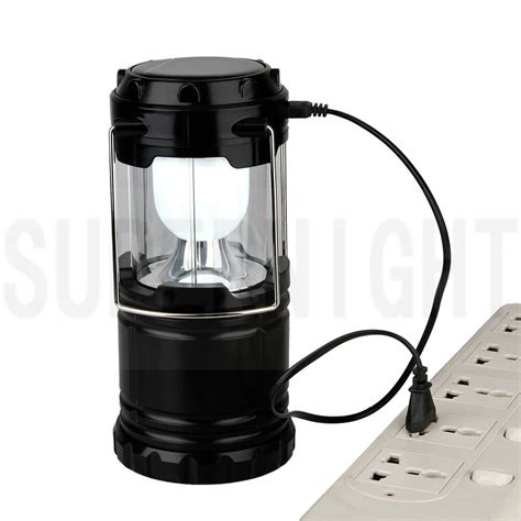 white solar powered rechargeable 6 led cing white solar powered rechargeable 6 led cing lantern flashlight usb 5v 1a ebay