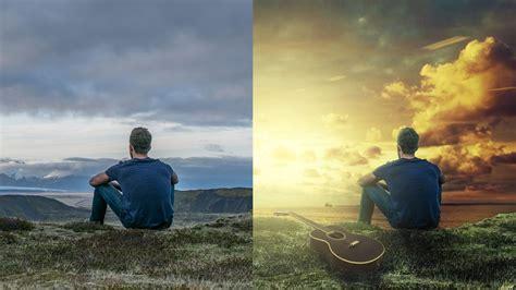 photoshop manipulation tutorial sunset change background