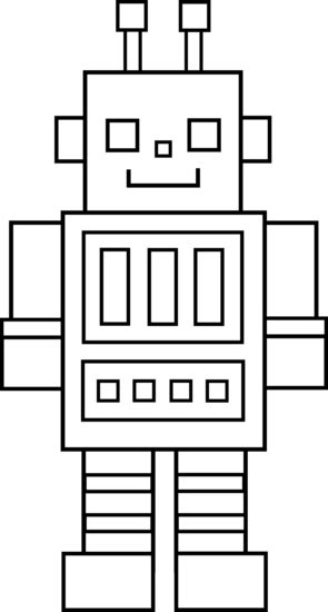 Cute Colorable Robot - Free Clip Art