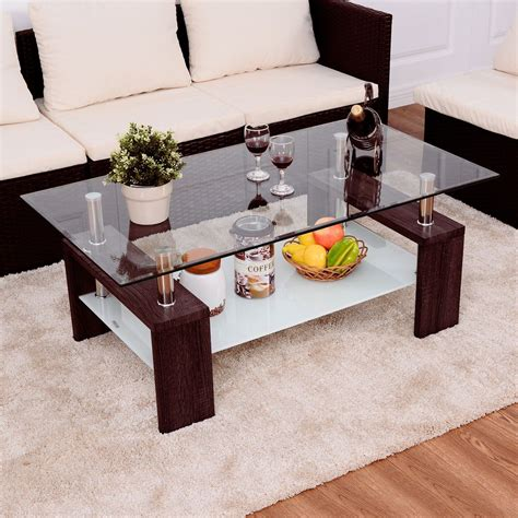 Coffee tables come in various designs and shapes, which means that your living room design depends on the mood you wish you create with your home furnishing pieces. Rectangular Tempered Glass Coffee Table w/Shelf Wood Living Room Furniture Allblessings ...
