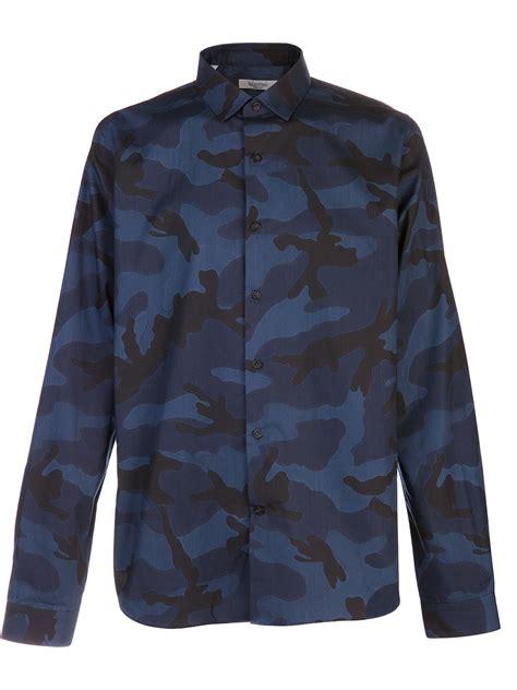 lyst valentino camouflage shirt  blue  men