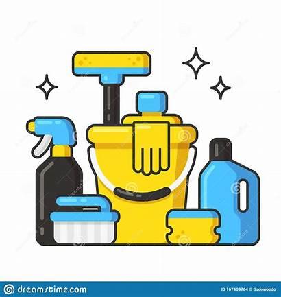 Cleaning Supplies Clip Liquids Bottles Cartoon Liquid