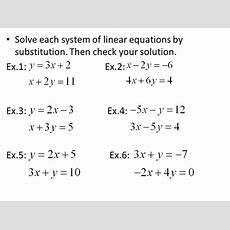 Chapter 72 Notes Solve Linear Systems By Substitution
