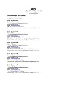 end of resume references reference sheet template free
