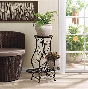 Tuscan, Iron, Plant, Stand, For, Three, Plants