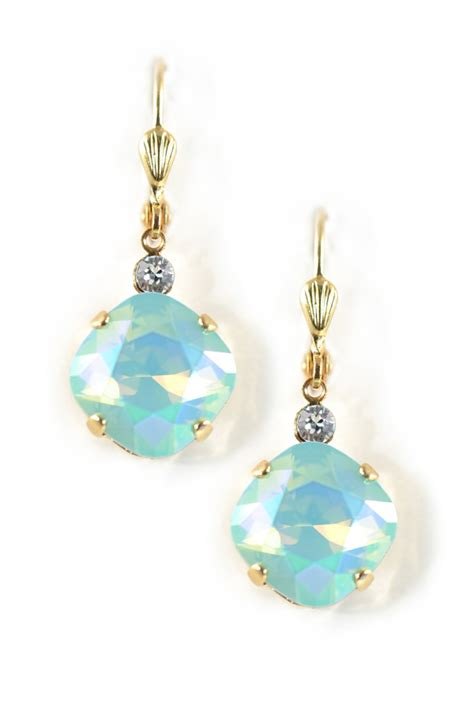square mm ultra swarovski shell wire earrings clara